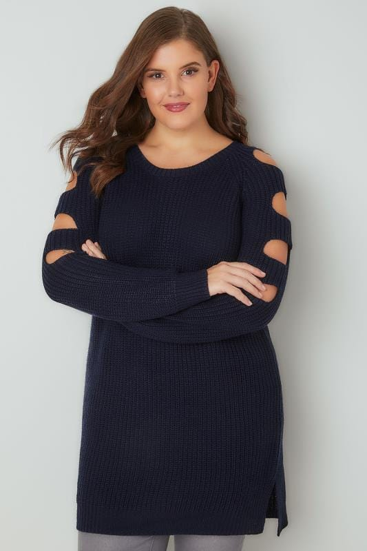 Navy Chunky Knit Longline Jumper With Slashed Shoulders