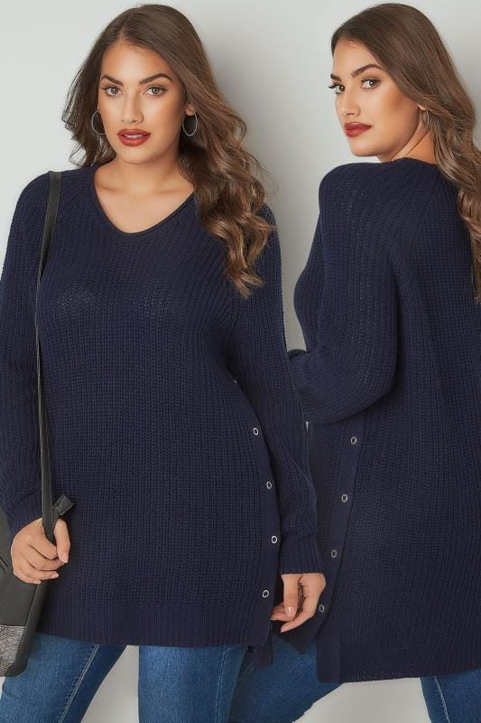Plus Size Jumpers Navy Chunky Knit V-Neck Jumper With Popper Sides