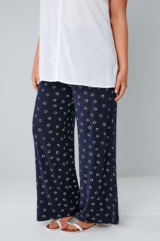 Wide Leg & Palazzo Trousers Navy Circle Print Wide Leg Jersey Trousers 142059