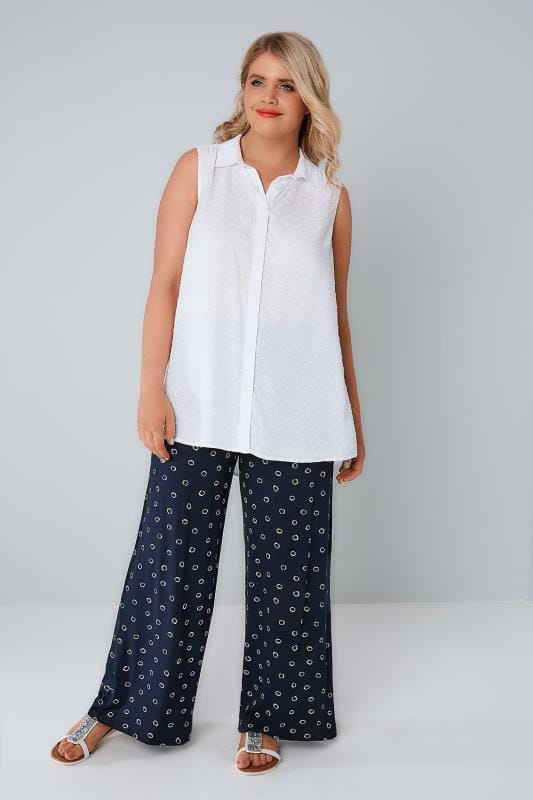 Navy Circle Print Wide Leg Jersey Trousers