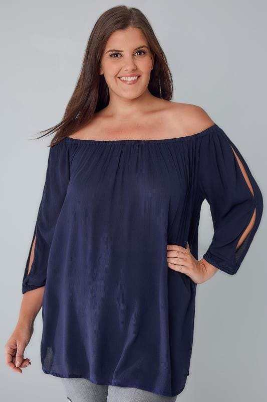 Navy Cold Shoulder Crinkle Gypsy Top