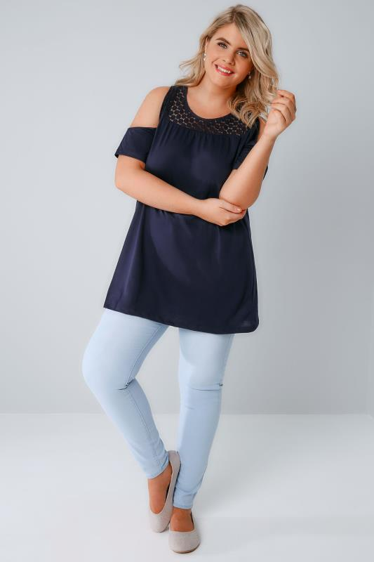 Navy Cold Shoulder Jersey Top With Lace Yoke