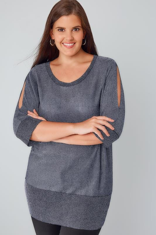 Navy Cold Shoulder Metallic Jumper