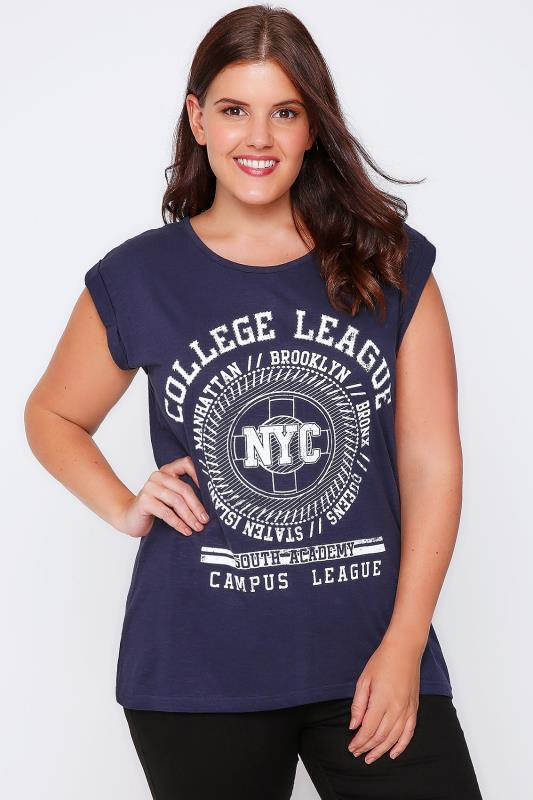 Navy 'College League' Varsity Print T-Shirt