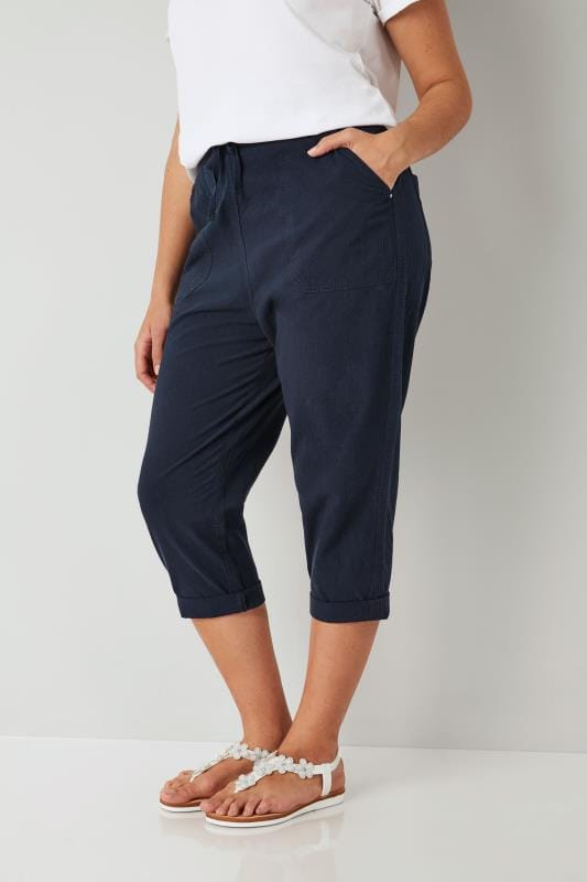 Navy Cool Cotton Cropped Trousers, plus size 16 to 36