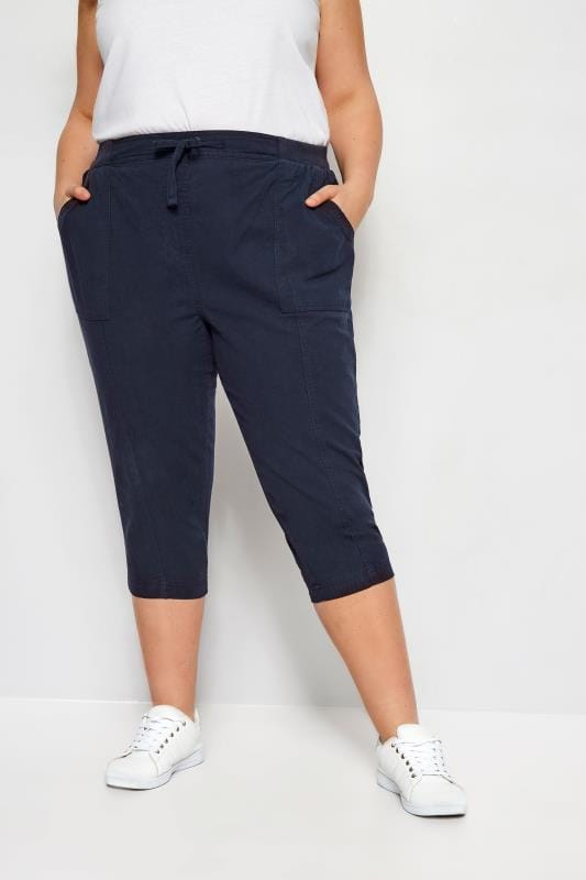Plus Size Cropped Trousers Navy Cool Cotton Cropped Trousers