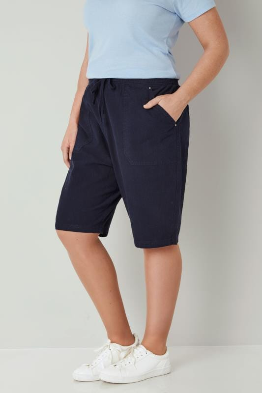 Plus Size Cool Cotton Shorts Navy Cool Cotton Pull On Shorts