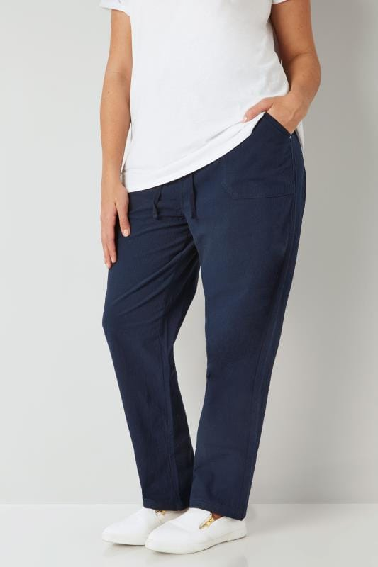 Plus Size Cotton Pants Navy Cool Cotton Pull On Wide Leg Trousers