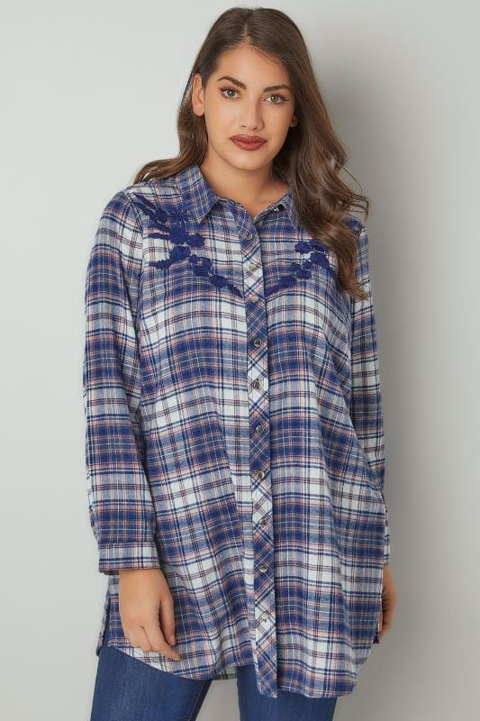 Navy & Coral Floral Embroidered Longline Checked Shirt
