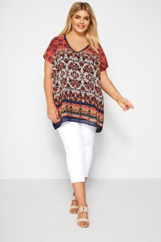 Navy & Coral Patterned Chiffon Cape Top