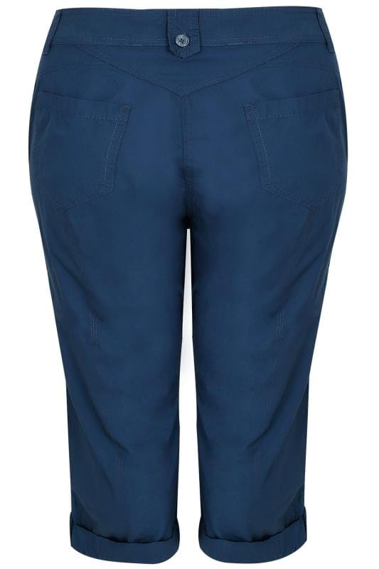 Navy Cotton Cargo Cropped Trousers