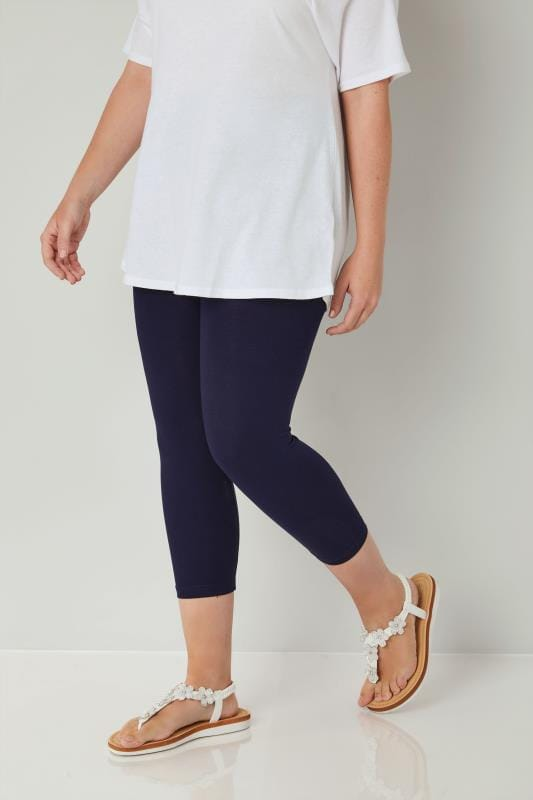 Plus Size Capri Leggings Navy Cotton Essential Cropped Leggings
