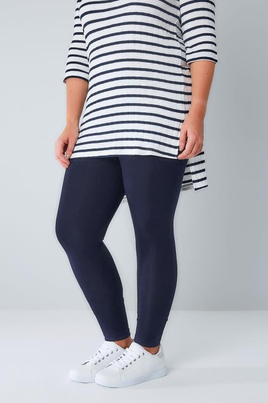 Plus Size Basic Leggings Navy Cotton Elastane Leggings