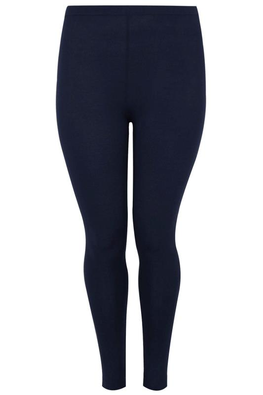 Navy Cotton Essential Leggings Plus Size 16 To 36