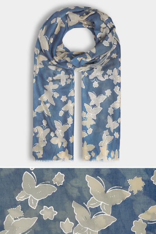 Navy & Cream Butterfly Scarf