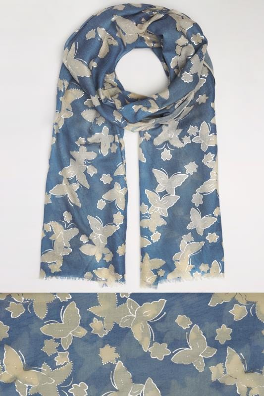 Plus Size Scarves Navy & Cream Butterfly Print Scarf With Gold Foil Detail