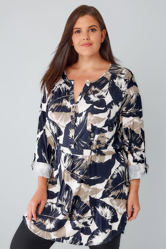 Navy & Cream Palm Print Longline Jersey Top With Waist Tie