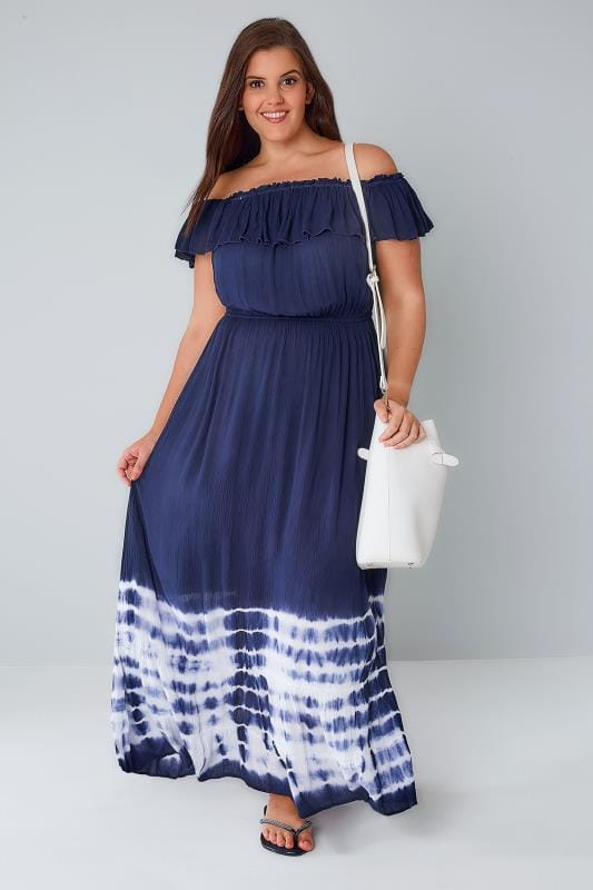 Navy Crinkle Fabric Frill Maxi Dress With Tie Dye Hem
