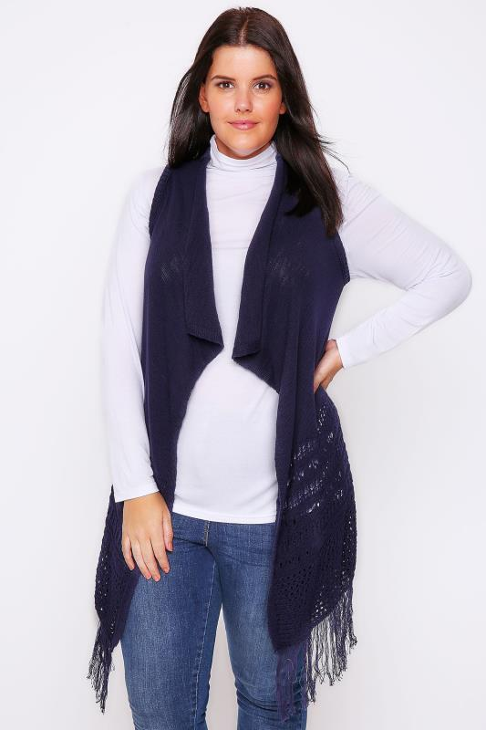Navy Crochet Knit Sleeveless Cardigan With Tassel Hem