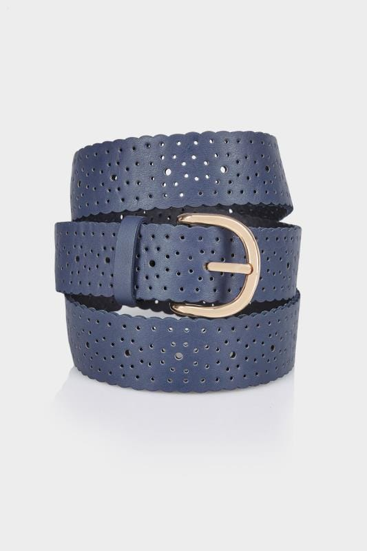 Plus Size Belts Navy Cut Out Spot Detail Belt With Scalloped Edge