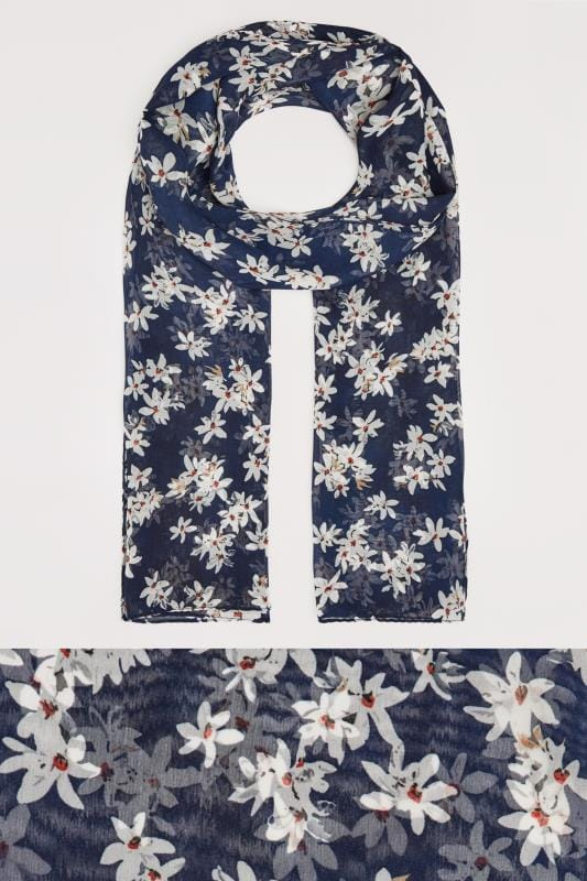 Plus Size Scarves Navy Daisy Print Scarf