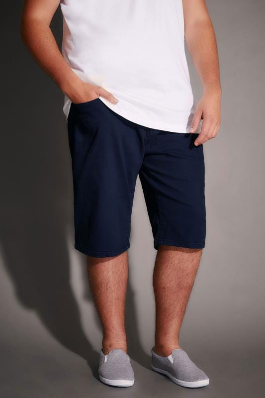 Navy Denim 5 Pocket Shorts