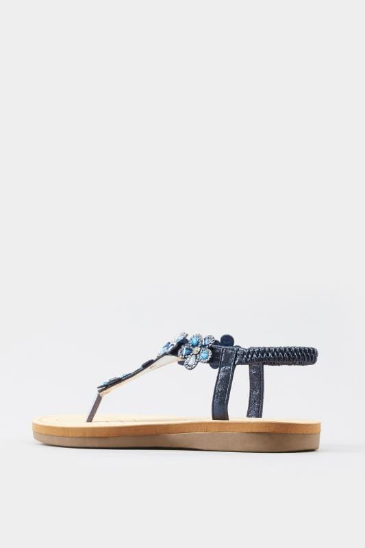 Navy Diamante Flower Sandals