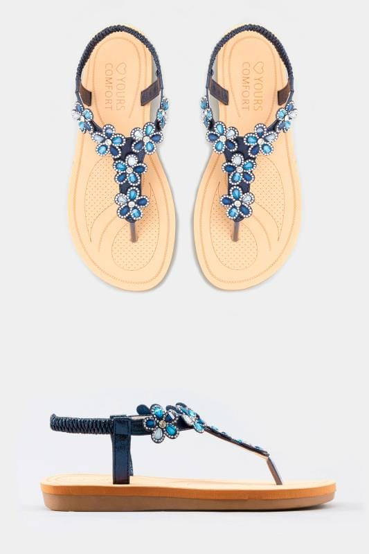 92fabdf49c4 Wide Fit Sandals Navy Diamante Flower Sandals · Basket Buy