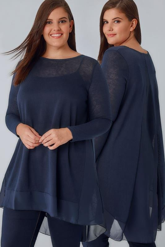 Navy Dipped Hem Longline Top With Sheer Panels