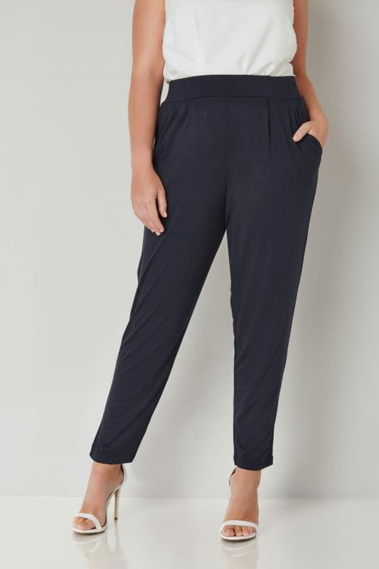 Plus Size Harem Trousers Navy Double Pleat Jersey Harem Trousers
