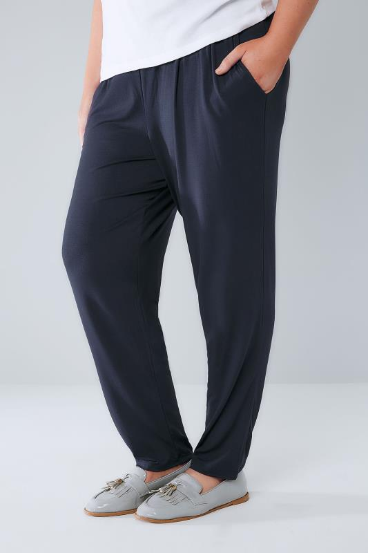 Navy Double Pleat Jersey Harem Trousers