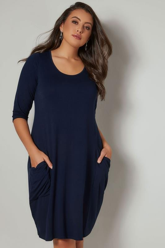 Plus Size Swing Dresses Navy Drape Pocket Jersey Dress With 3/4 Sleeves
