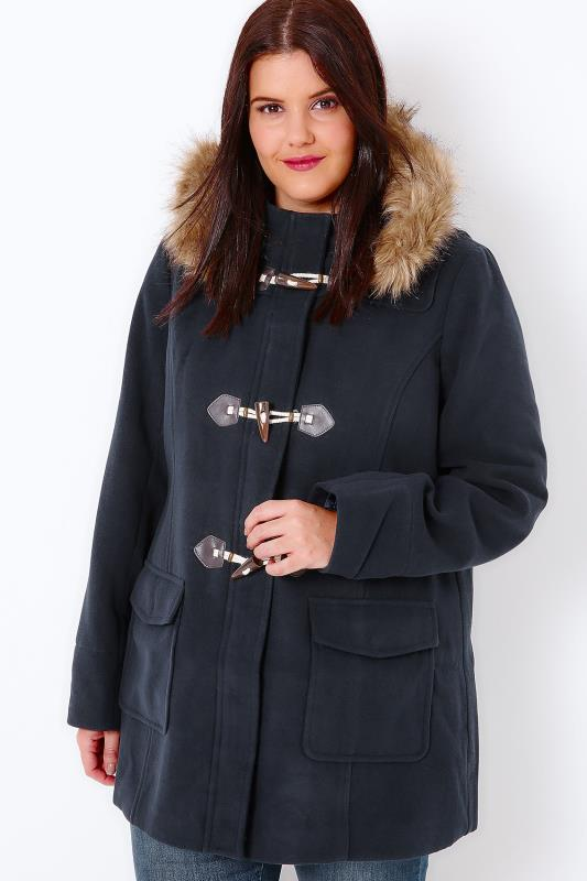 Navy Duffle Coat With Faux Fur Lined Borg Hood