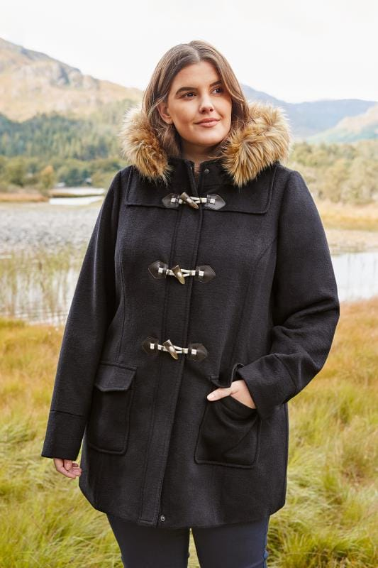 Plus Size Coats Navy Duffle Coat With Faux Fur Trim
