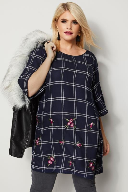 Plus Size Longline Tops Navy & Ecru Check Tunic With Embroidery