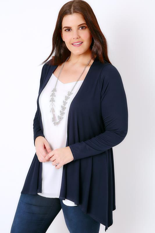 Cardigans Navy Edge To Edge Waterfall Jersey Cardigan With Lace Panel 134059