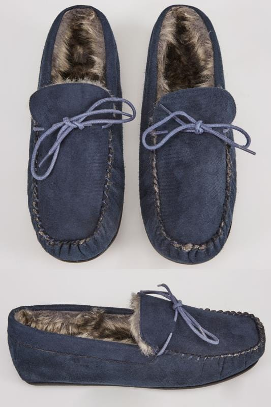 Navy Faux Suede Moccasin Slipper With Fur Lining