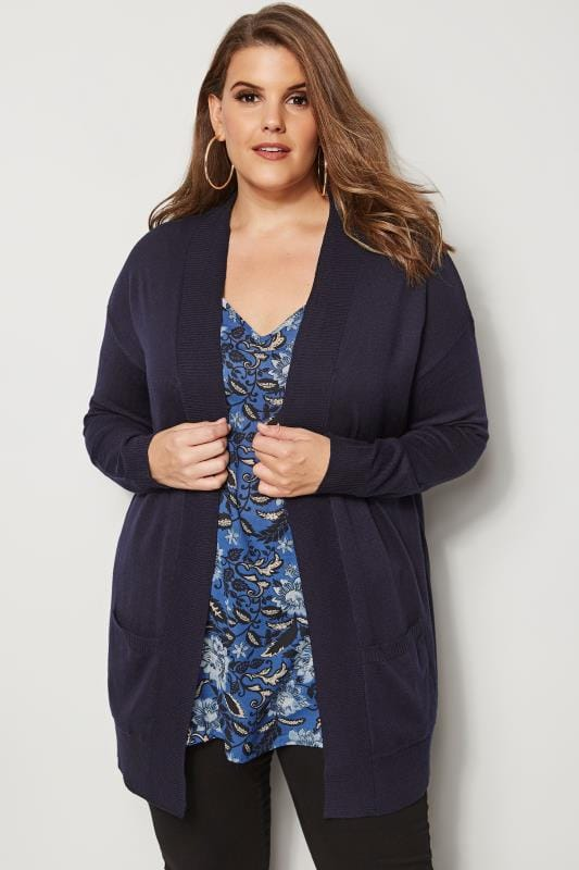 Plus Size Cardigans Navy Fine Knit Edge To Edge Cardigan