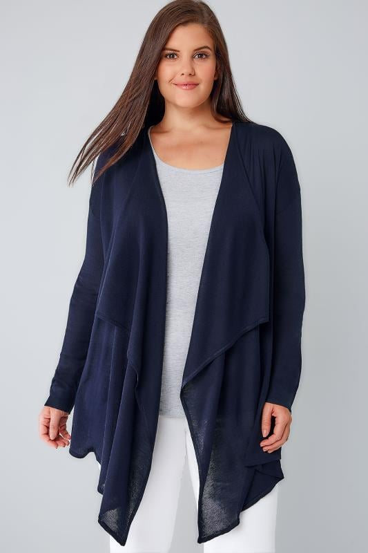 Navy Fine Knit Waterfall Cardigan