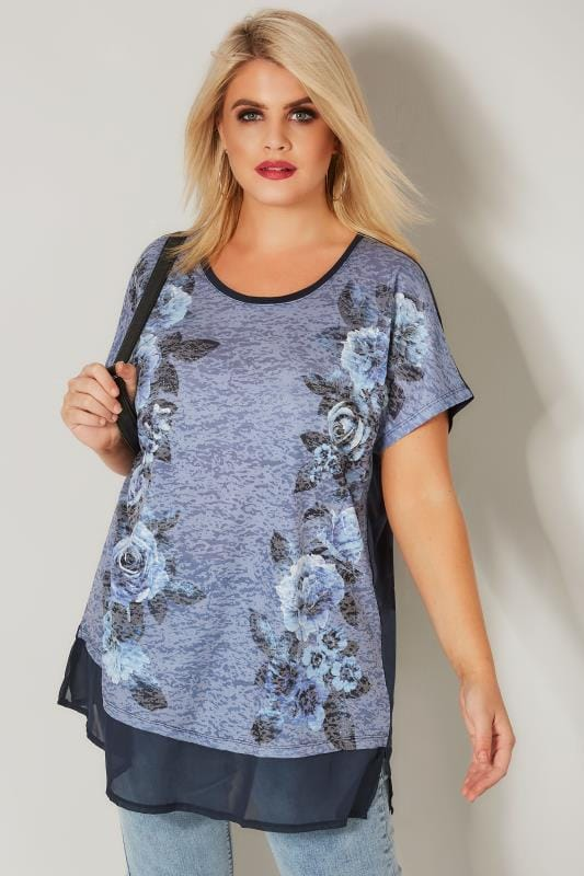 Plus Size Day Tops Navy Floral Burnout Top With Chiffon Hem