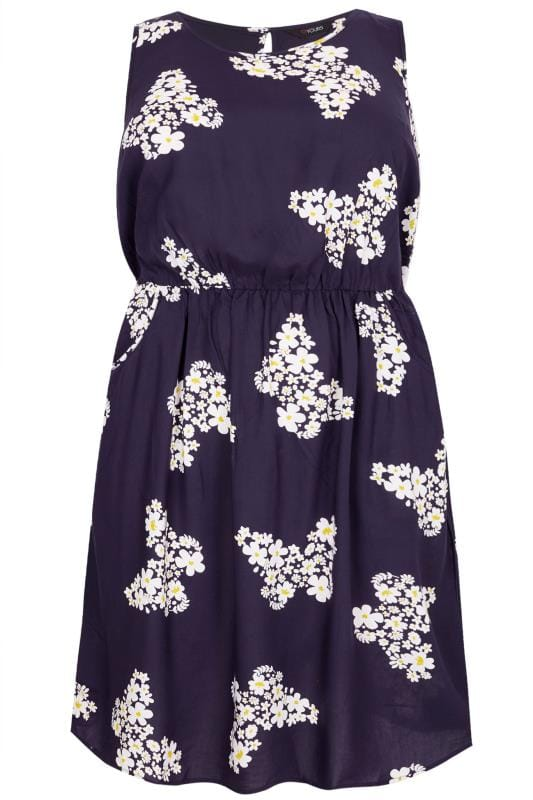 Navy Floral Butterfly Pocket Skater Dress Sizes 16 To 36