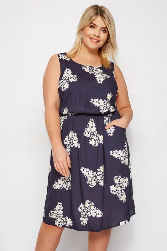 Navy Floral Butterfly Pocket Skater Dress
