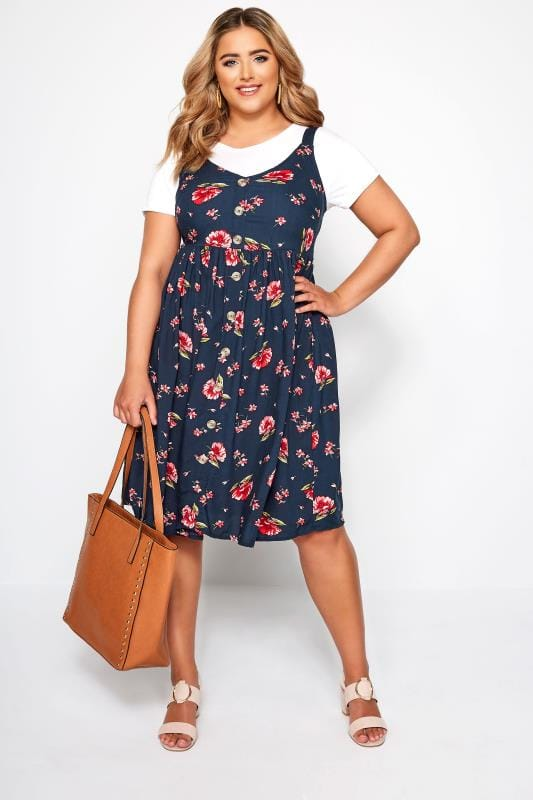 Navy Floral Button Through Dress