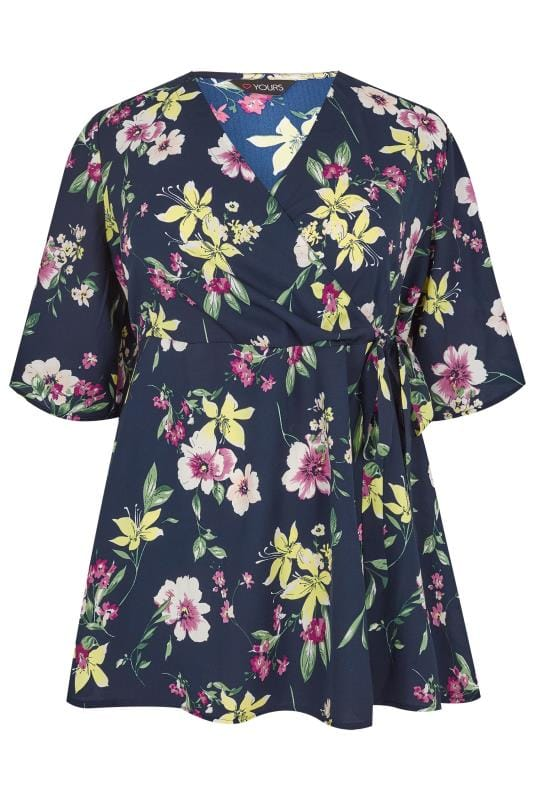 Navy floral chiffon wrap top plus size 16 to 36 yours - Add background image to div ...
