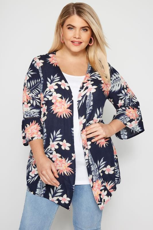 Plus Size Kimonos & Waistcoats Navy Floral Crochet Cover Up