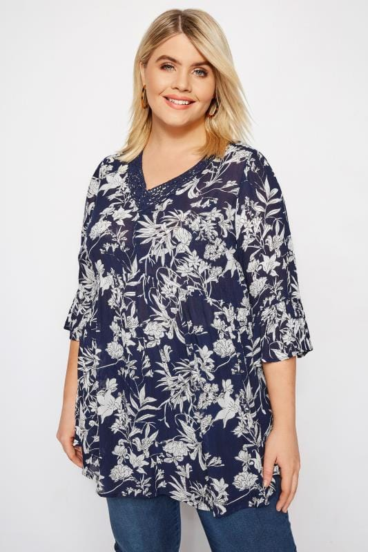 Plus Size Blouses & Shirts Navy Floral Crochet Top