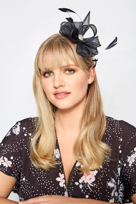 Plus Size Hair Accessories YOURS LONDON Navy Floral Diamante Fascinator