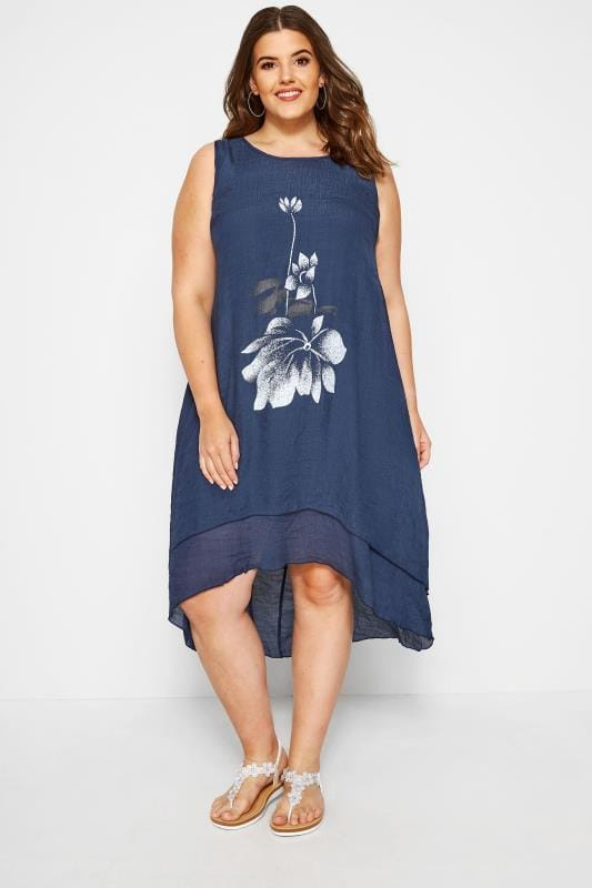 Navy Floral Dipped Hem Dress