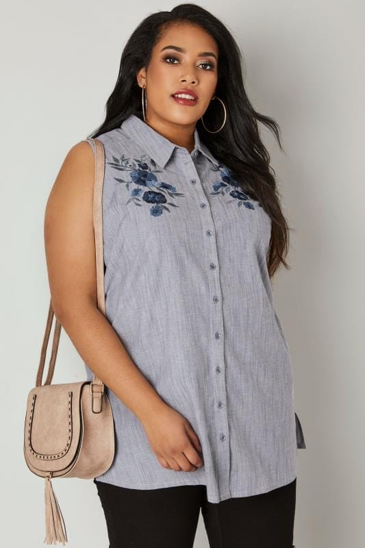 Plus Size Shirts Navy Floral Embroidered Sleeveless Shirt