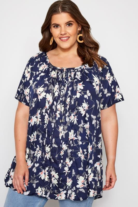 Plus Size Gypsy Tops Navy Floral Gypsy Top